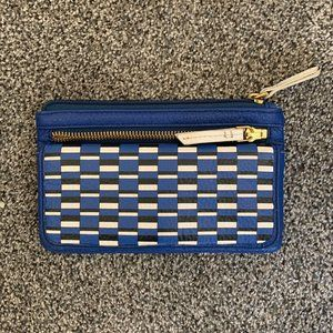 FOSSIL wallet blue leather geometric black white